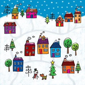 SnowyVillage-GreetingsCard